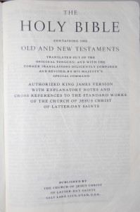 The Bible, King James Version, used by members of The Church of Jesus Christ of Latter-day Saints (Mormons, LDS)