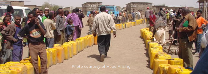 Yellow water cans in Dera, Ethiopia. Picture courtesy of Hope Arising.