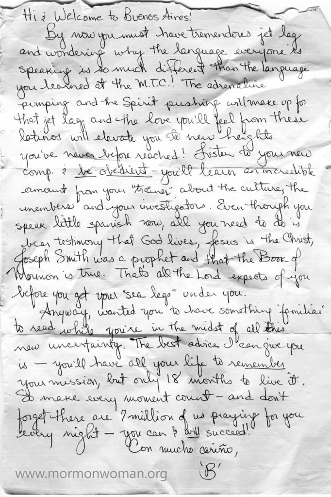 Mormon Woman: Letter from Jennifer (Michelle)