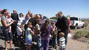 LDS prophet Thomas S. Monson shaking children's hands