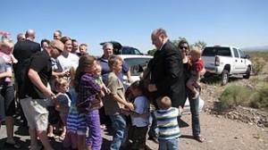 LDS prophet President Monson with children