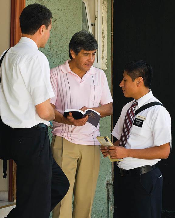 Mormon missionaries teach the doctrine of Jesus Christ