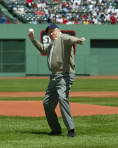 L. Tom Perry opening pitch at Fenway 2004