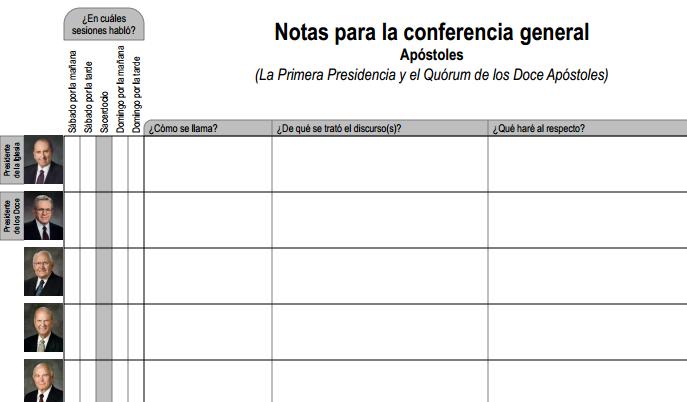Hoja para tomar notas - la conference general SUD