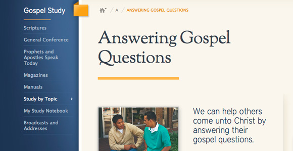 lds.org page answering gospel questions