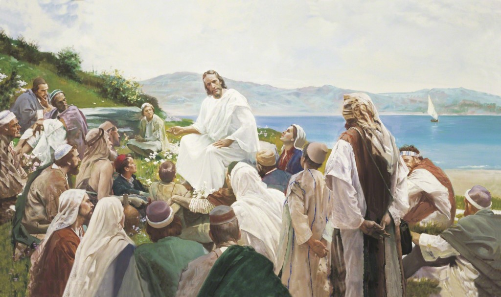 Jesus Christ teaching the people Sermon on the Mount
