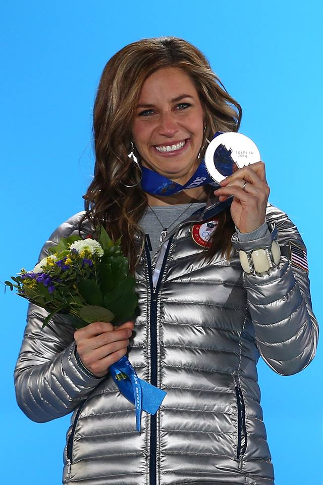 Noelle Pikus-Pace with Silver Medal and Mormon LDS Young Women torch necklace